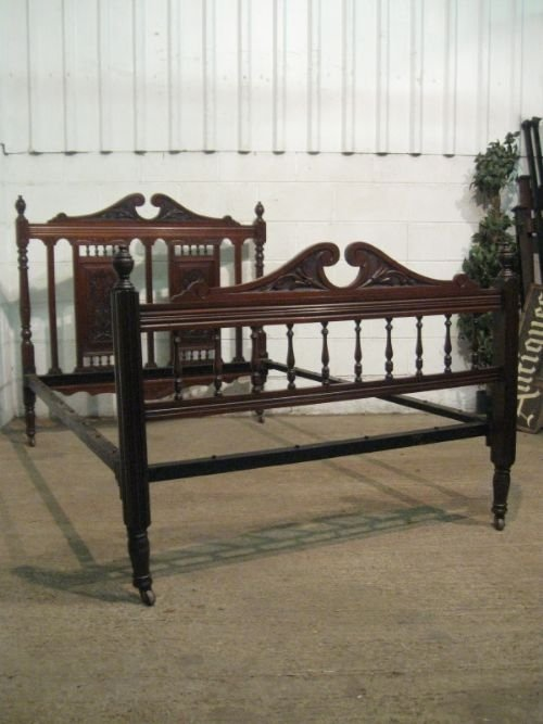 superb antique victorian art nouveau mahogany double bed stead c1890 wdb125303