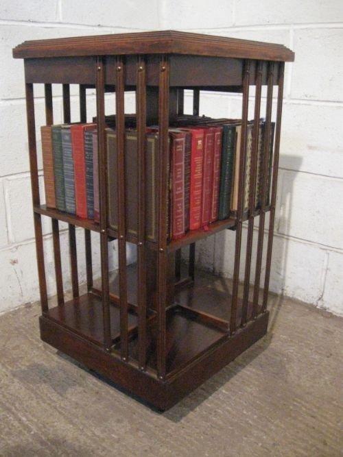 antique edwardian mahogany burr walnut inlaid revolving bookcase c1900 prv12064