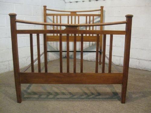 antique edwardian arts crafts satinwood double bedstead c1900 wdb6064