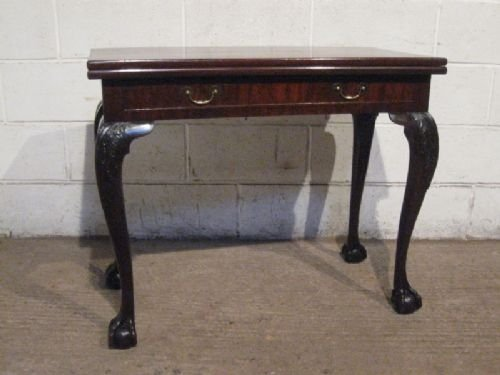 antique early victorian chippendale mahogany fold over games table c1840 wdb455294