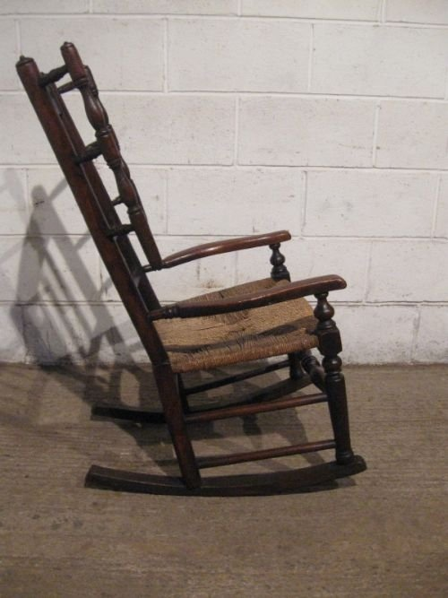 Declaration - Antique Georgian Country Oak Lancashire Spindle Back Rocking Chair