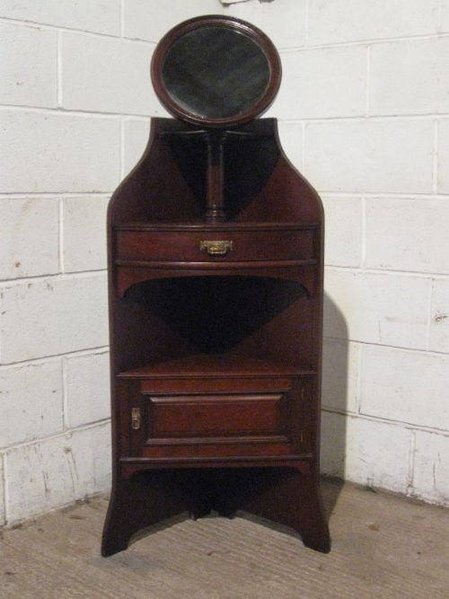 lovely antique edwardian mahogany corner washstand with mirror c1900 wdb100185