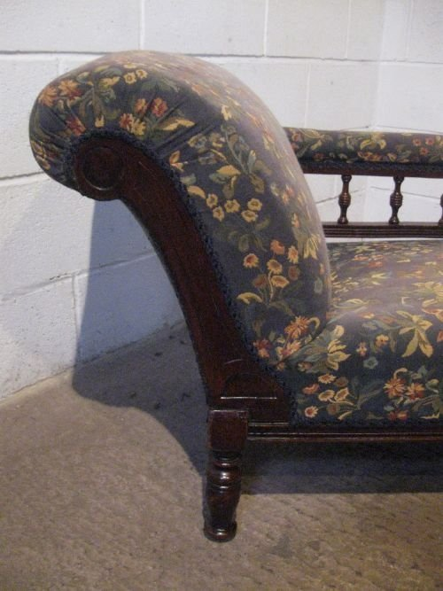 Antique late victorian mahogany double ended chaise longue for Antique chaise longue uk
