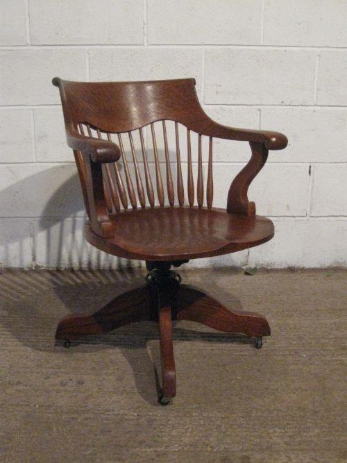 Antique Edwardian Solid Oak Swivel Desk Chair C1900 Wp65277