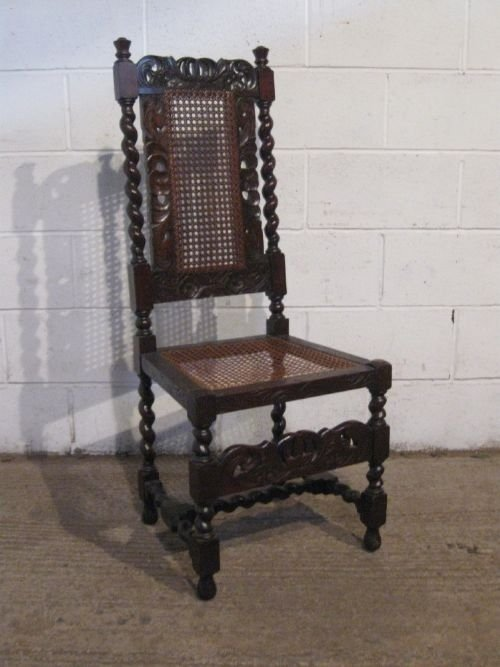 Antique Victorian High Backed Carved Oak Hall Side Chair ...