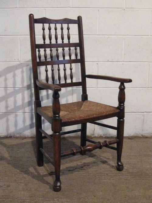 Set Six Antique Victorian Country Oak Spindle Back Dining Chairs With Two Car