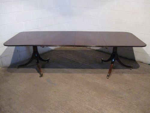 antique edwardian quality mahogany twin pedastal extending dining table regency revival seats 1012 c1900 wdb498179