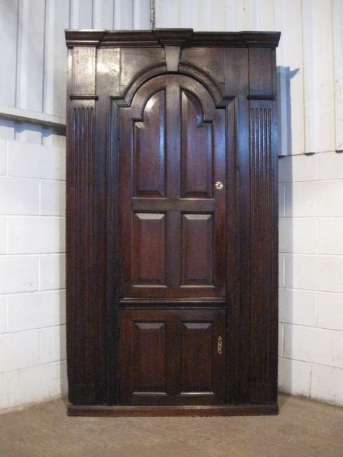 antique georgian oak peg joined full height corner cupboard cabinet c1740 wdb500979