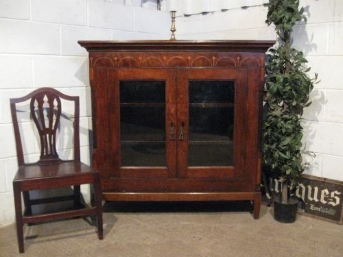 antique georgian oak and mahogany inlaid floor standing bookcase c1780 wdb6013139