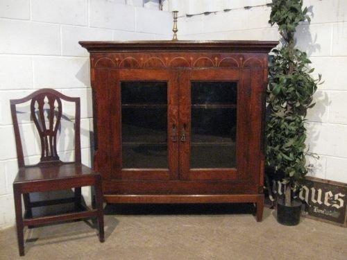 antique georgian oak and mahogany inlaid floor standing bookcase c1780 wdb6013139