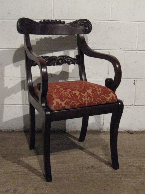 antique william 1v cuban mahogany elbow library desk chair c1830 wdb6006139