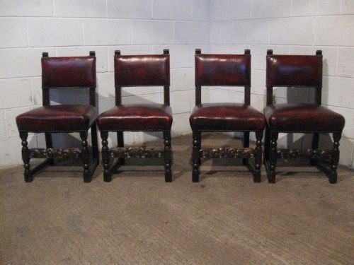 Set Four Antique Victorian Jacobean Oak Leather Dining Chairs