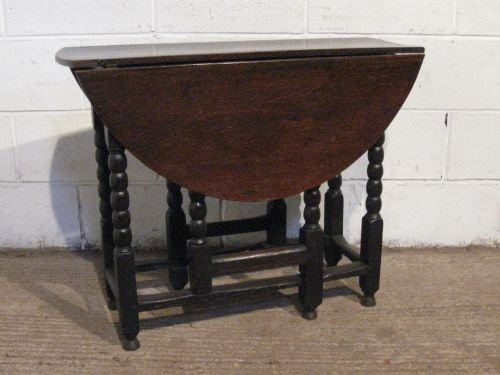 Genial Antique James 11 Small Joined Oak Gate Leg Drop Leaf Table C1680 Wdb5976209