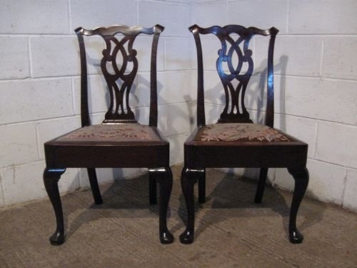pair antique georgian mahogany chippendale chairs with needlepoint seats c1750 wdb6043209