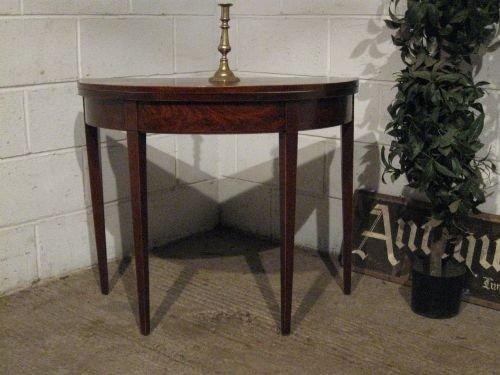 Lovely antique georgian regency mahogany demi lune fold for Table demi lune fer forge