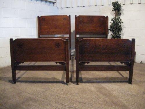 pair antique edwardian oak single beds c1900 wdb6051a1210