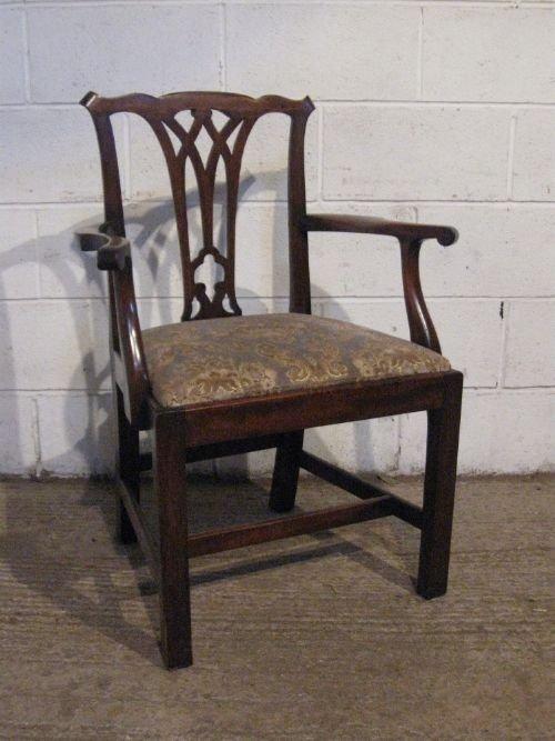 antique georgian chippendale mahogany elbow desk side chair c1780  wdb60001210 - Antique Georgian Chippendale Mahogany Elbow Desk Side Chair C1780