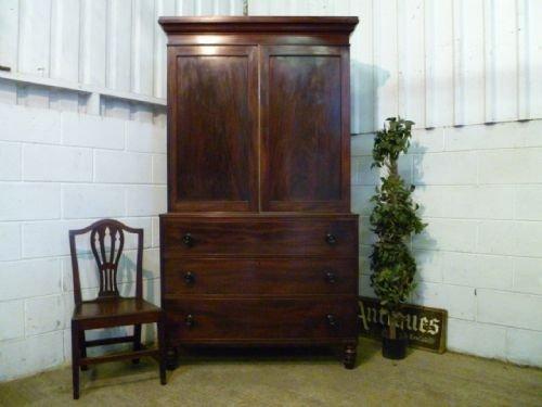 antique georgian mahogany linen press on chest c1780 wdb46851910