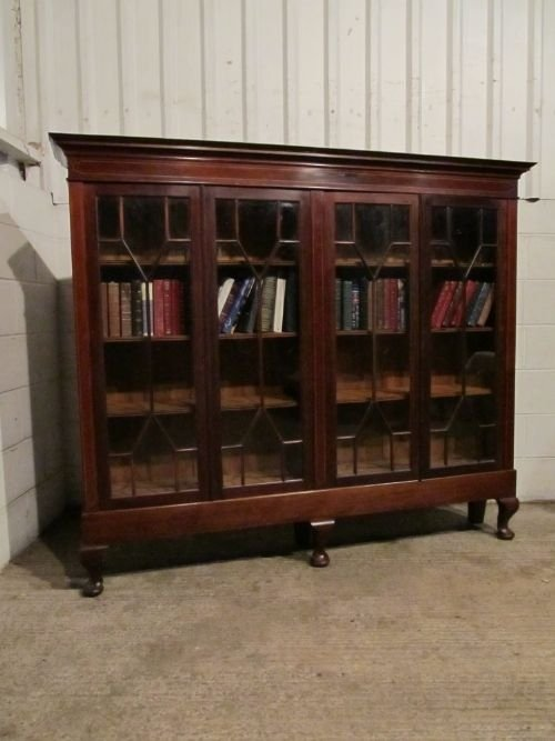 antique edwardian mahogany inlaid astragal glazed bookcase c1900 wdb6160612