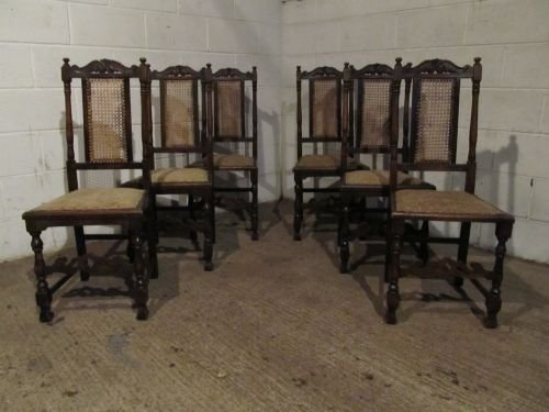 antique set six victorian oak bergere back dining chairs c1880 wdb6187612
