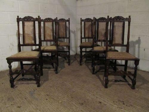 antique set six victorian oak bergere back dining chairs c1880 wdb6187612