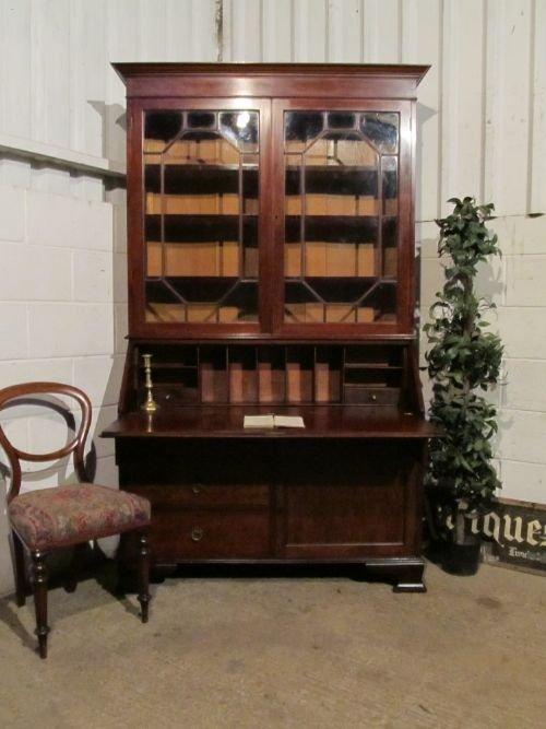 antique edwardian mahogany astragal glazed bureau bookcase c1900 wt6199a1312