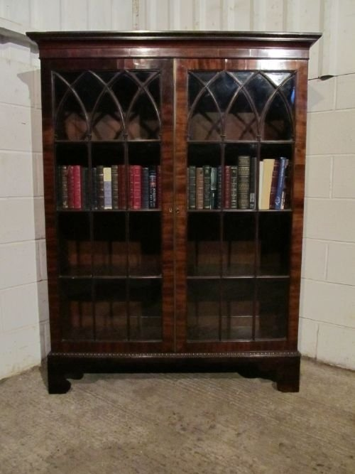 antique georgian mahogany glazed bookcase wdb61891312