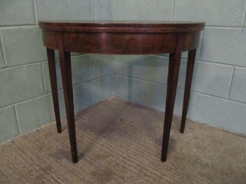 antique regency mahogany demi lune fold over table c1800 wdb6222251