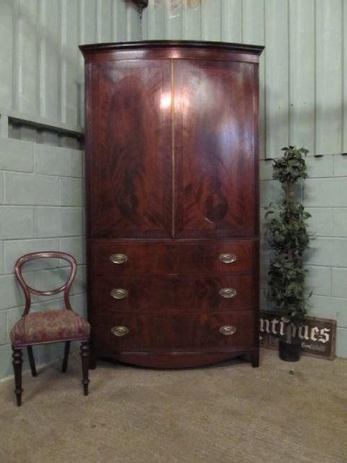 antique regency mahogany bow fronted clothes press wardrobe on chest c1800