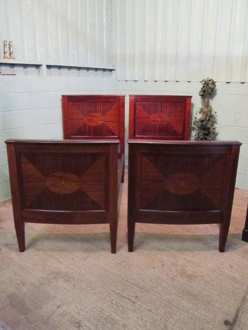 pair antique edwardian mahogany inlaid single beds c1900 w629273