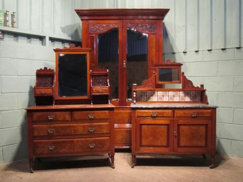antique edwardian mahogany walnut bedroom suite double wardrobe dressing  table chest and washstand cabinet c1900 w6380214 - Antique Edwardian Mahogany & Walnut Bedroom Suite Double Wardrobe