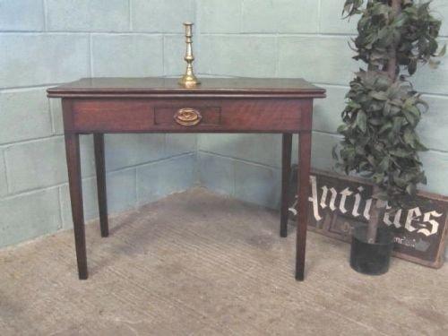 antique georgian oak mahogany banded fold over table c1780 w622112