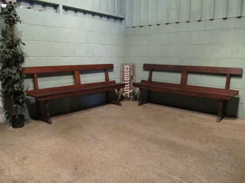 antique pair victorian oak benches c1880 w6502276