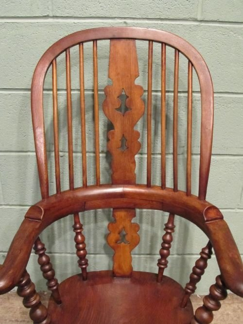 antique victorian oak elm broad arm windsor chair c1850 w650927 - photo angle #2