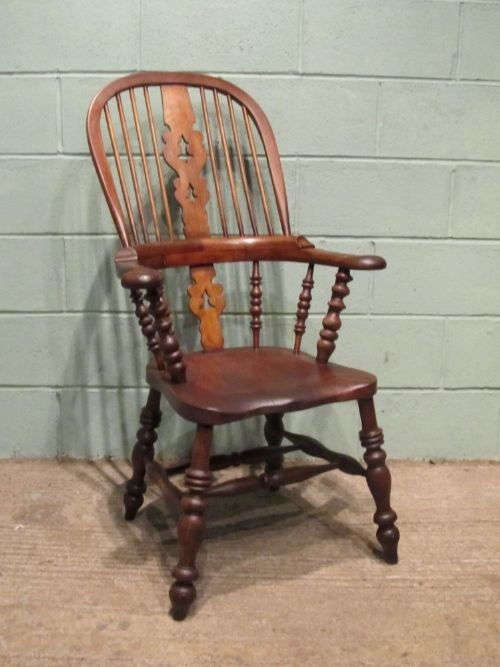 antique victorian oak elm broad arm windsor chair c1850 w650927 - photo angle #4