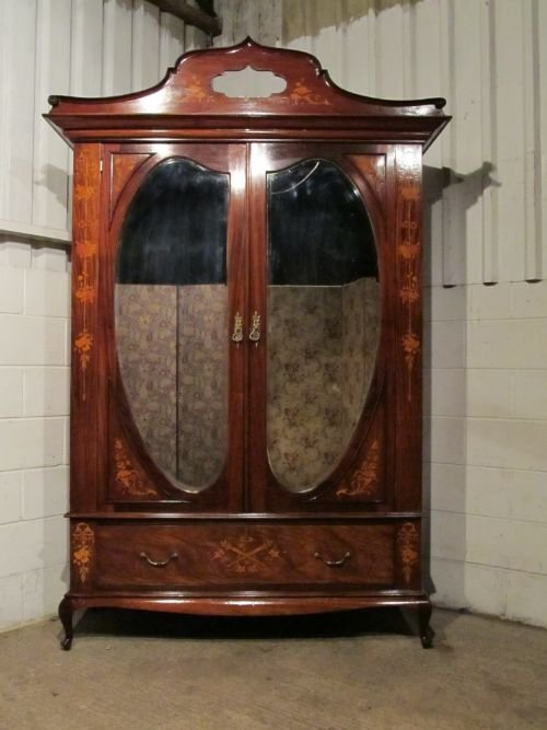 antique victorian art nouveau mahogany inlaid double wardrobe armoire c1890 124930. Black Bedroom Furniture Sets. Home Design Ideas