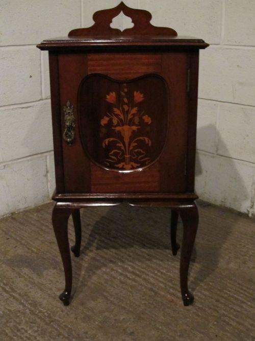 antique victorian art nouveau quality mahogany inlaid bedside cabinet pot cupboard c1890 w6177c612