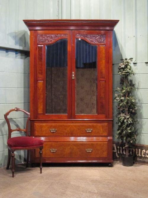 antique art nouveau mahogany and walnut double wardrobe. Black Bedroom Furniture Sets. Home Design Ideas