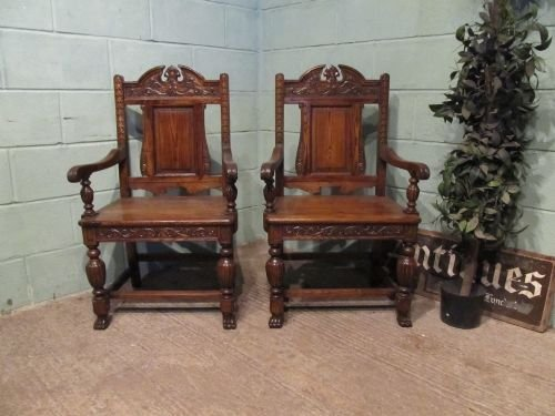 antique pair late victorian carved oak throne chairs c1890 w6545158 - Antique Pair Late Victorian Carved Oak Throne Chairs C1890 W6545