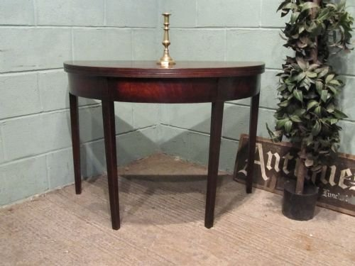 antique regency mahogany demi lune fold over side table c1800 w6548158