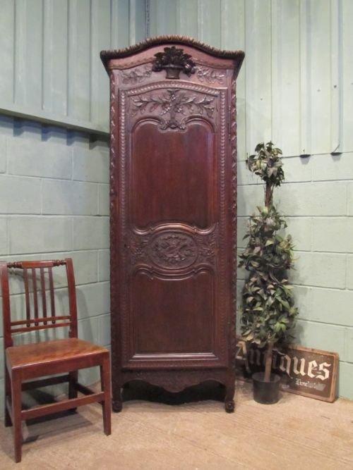 antique 19th century french narrow oak armoire linen press c1850 w6582269