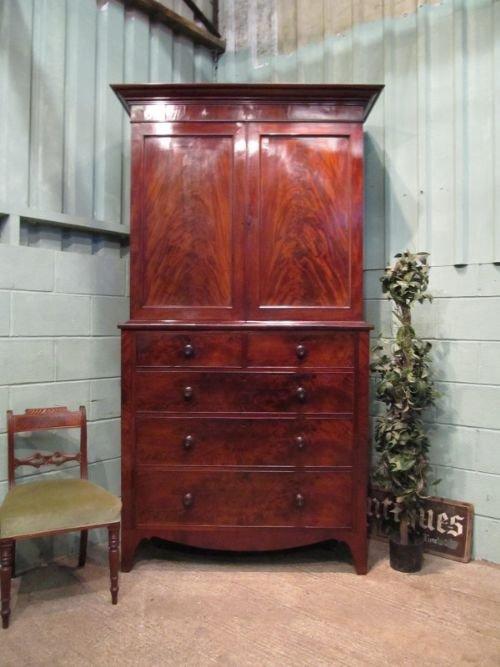 antique regency mahogany linen press c1800 w66231710