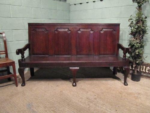 antique georgian oak settle bench c1750 w672541