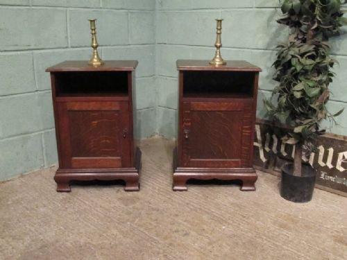 antique pair edwardian oak bedside cabinets c1900 w672441