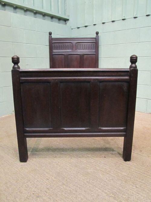 antique early victorian solid oak single bed c1850 wemd91 - photo angle #2
