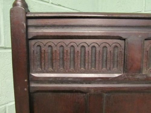antique early victorian solid oak single bed c1850 wemd91 - photo angle #4