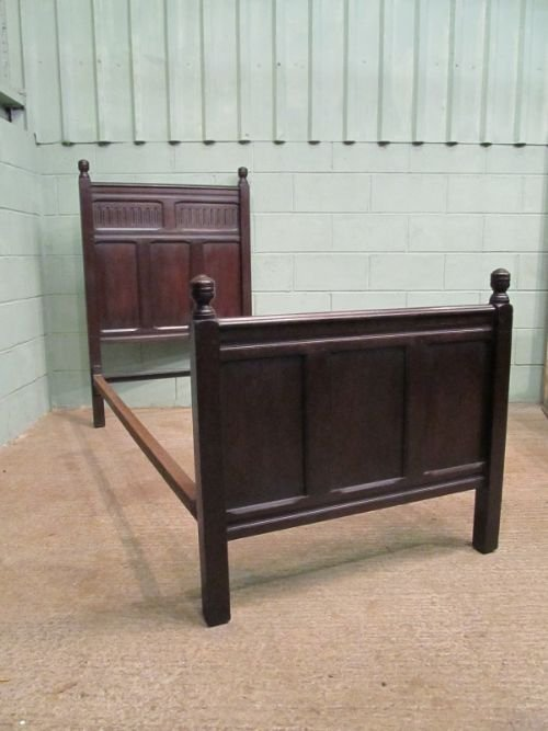 antique early victorian solid oak single bed c1850 wemd91 - photo angle #5