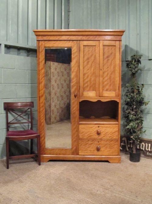 antique edwardian satinwood wardrobe compactum c1900 w6790132