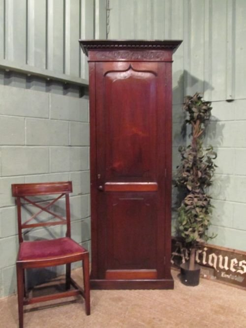 antique tall georgian narrow mahogany cupboard c1780 w6821272