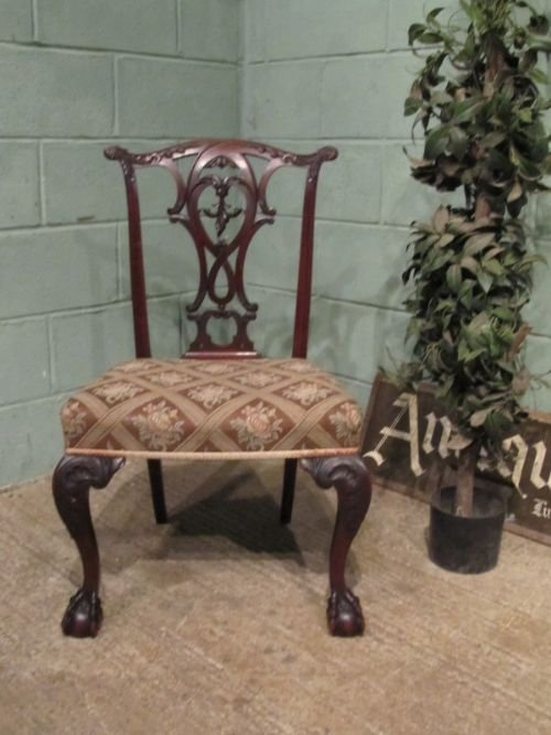antique early victorian mahogany chippendale side chair c1840 w6846123